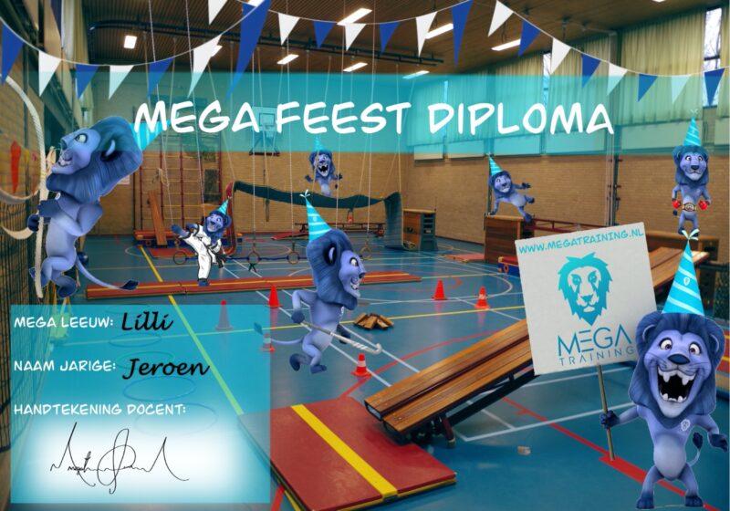 Kinderfeest, diploma, gymzaal